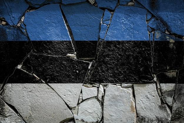 Bandiera nazionale dell'estonia su un vecchio muro di pietra