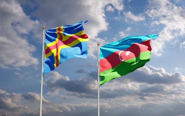 Bandiere di stato nazionali dell'azerbaigian e delle isole aland