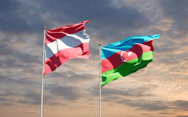 Bandiere di stato nazionali dell'azerbaigian e dell'austria