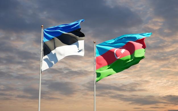 Bandiere di stato nazionali dell'azerbaigian e dell'estonia insieme
