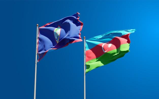 Bandiere nazionali di stato dell'azerbaigian e del guam insieme