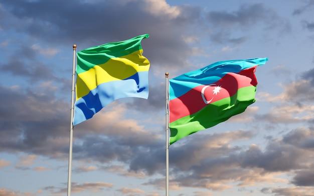 Bandiere nazionali di stato del gabon e dell'azerbaigian