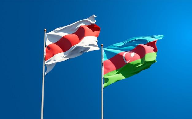 Bandiere di stato nazionali della nuova bielorussia e dell'azerbaigian