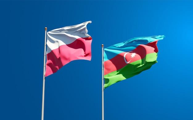 Bandiere di stato nazionali di polonia e azerbaigian