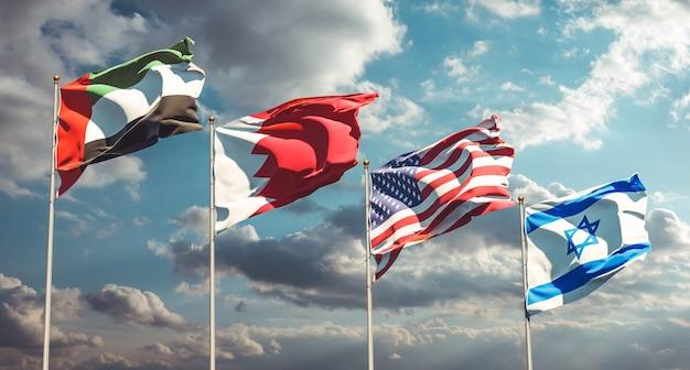 Bandiere di stato nazionali degli emirati arabi uniti, usa, bahrein e israele