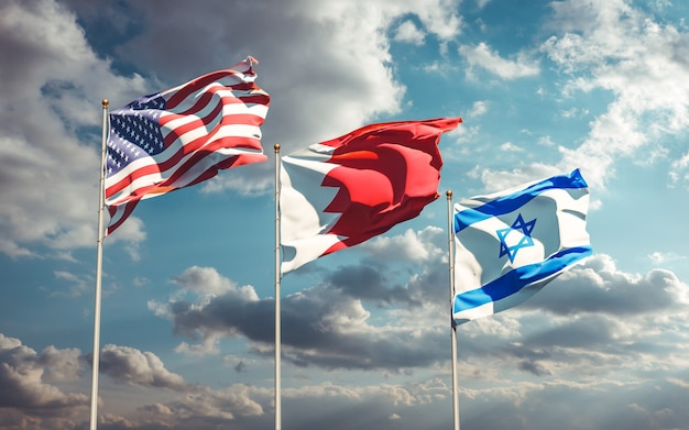 Bandiere di stato nazionali degli stati uniti bahrain israele