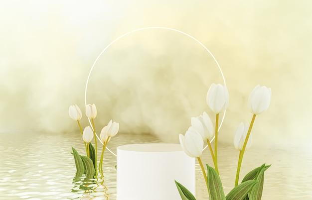 Sfondo di podio di bellezza naturale per l'esposizione del prodotto con fiore di primavera