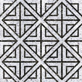 Piastrelle in marmo bianco e nero naturale. motivo geometrico
