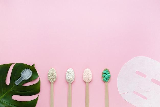 Gel di collagene naturale, polvere con diversi gusti, compresse, maschera sulla superficie rosa