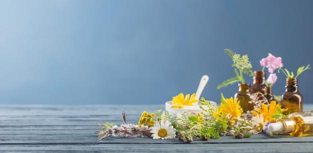 Cosmetici naturali da ingredienti a base di erbe su sfondo blu
