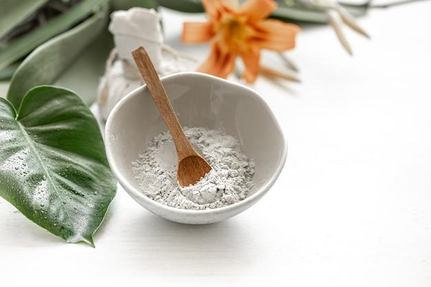 Cosmetici naturali per trattamenti termali a casa o in salone, cura della pelle cosmetica.