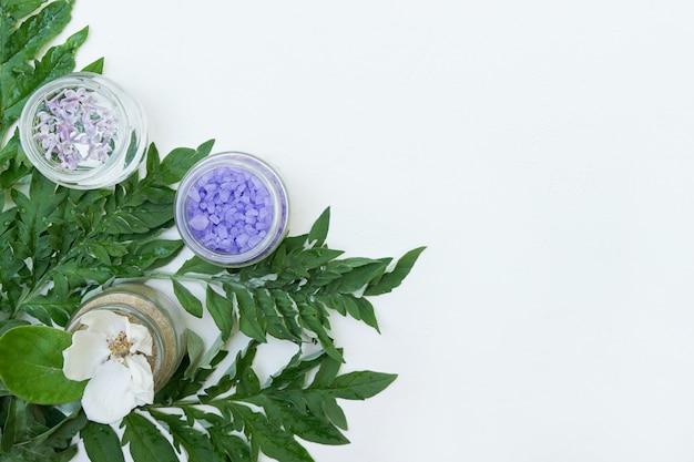 Ingredienti naturali dei cosmetici sulla parete bianca con lo spazio della copia