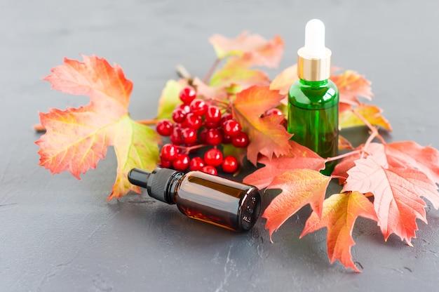 Olio essenziale naturale di viburno in bottiglie con contagocce su sfondo nero, con un ramo di viburno maturo autunnale.