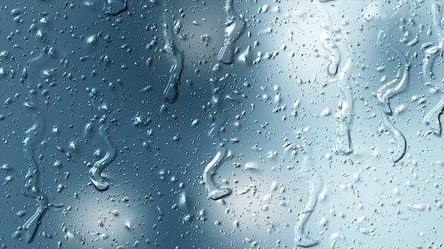Pioggia naturale della goccia di acqua dolce su struttura di vetro