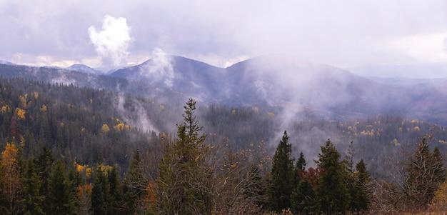 Sfondo naturale cupo delle montagne autunnali con alberi gialli e abeti in una giornata nuvolosa con nuvole nel cielo e nebbia carta da parati banner