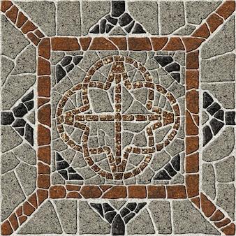Modello in granito naturale. mattonelle di pietra di rilievo del marciapiede della via