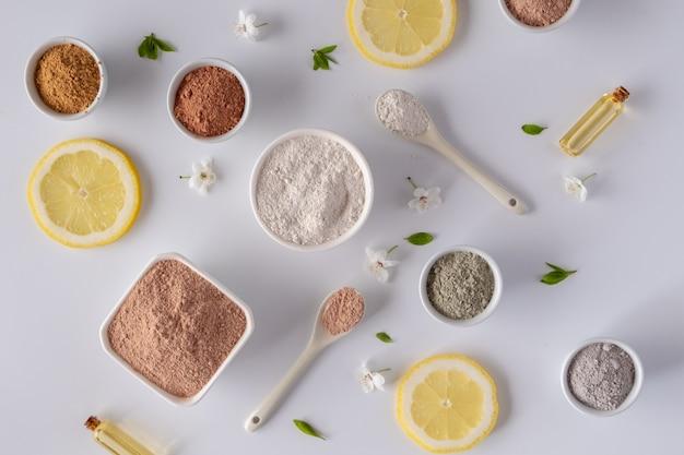 Ingredienti naturali per maschera o scrub viso e corpo fatti in casa. spa e concetto di cura del corpo.