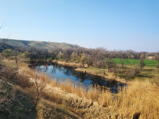 Paesaggio naturale. un laghetto in una posizione tranquilla e appartata.