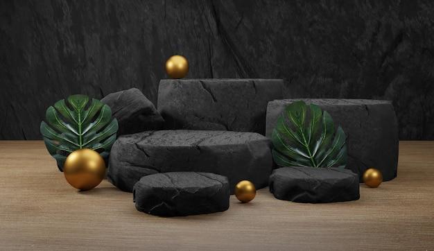 Podio in pietra naturale con foglie tropicali. sfondo per la visualizzazione del prodotto, rendering 3d