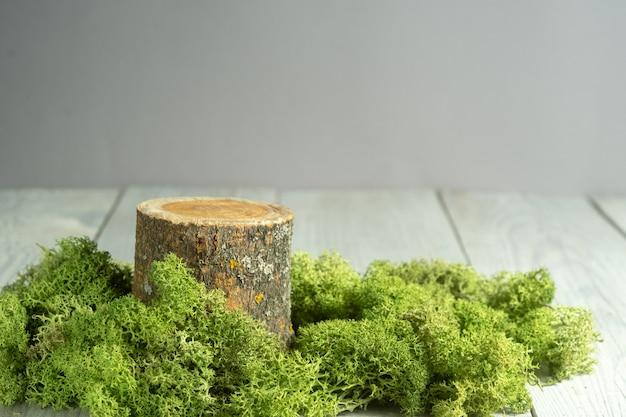 Stile naturale. podio o espositori in legno con muschio verde su sfondo bianco. natura morta per la presentazione dei prodotti.