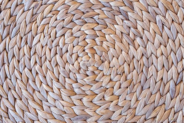 Paglia intrecciata naturale tessere la texture di sfondo superficie
