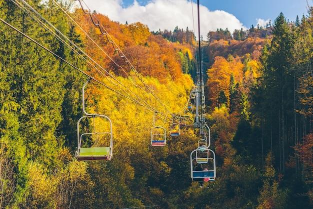 Paesaggio naturale della foresta autunnale e delle montagne