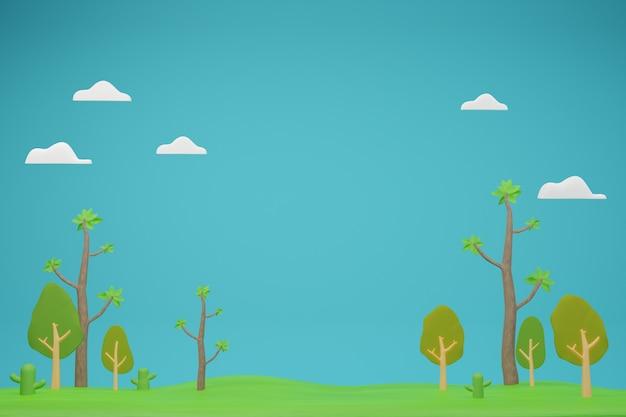 Paesaggio della natura con molti alberi sul campo 3d illustrazione su sfondo blu rendering 3d