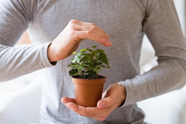 Concetto di protezione della natura. giorno della terra. uomo che copre la pianta d'appartamento con la mano.