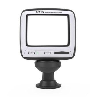 Sistema di navigazione e posizionamento globale dispositivo gps con schermo vuoto su sfondo bianco. rendering 3d