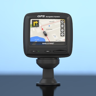 Sistema di navigazione e posizionamento globale dispositivo gps con mappa della città di navigazione sullo schermo su sfondo blu. rendering 3d