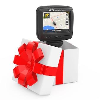 Sistema di navigazione e posizionamento globale dispositivo gps con mappa della città di navigazione sullo schermo esci dalla confezione regalo con nastro rosso su sfondo bianco. rendering 3d