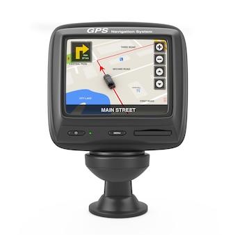 Navigazione e sistema di posizionamento globale dispositivo gps con mappa della città di navigazione sullo schermo su sfondo bianco. rendering 3d