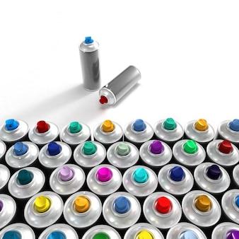 Bombolette aerosol disposte in modo ordinato e un paio fuori dal gruppo Foto Premium