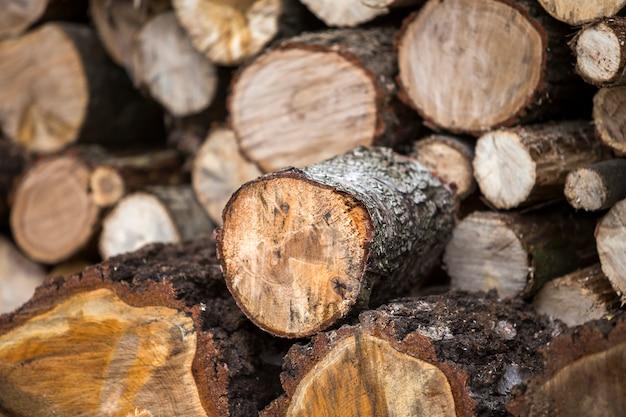 Pila ordinatamente accatastata di tronchi tagliati all'aperto il giorno soleggiato luminoso, fondo astratto, ceppi di legno del fuoco preparati per l'inverno, pronti per bruciare. concetto di protezione dell'ambiente.