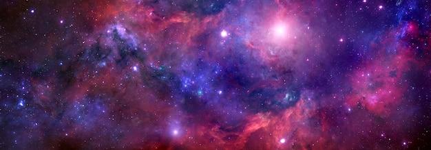 Nebulosa e stelle nel cielo notturno di un banner web. sfondo dello spazio per il design