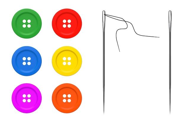 Aghi e bottoni impostati su uno sfondo bianco
