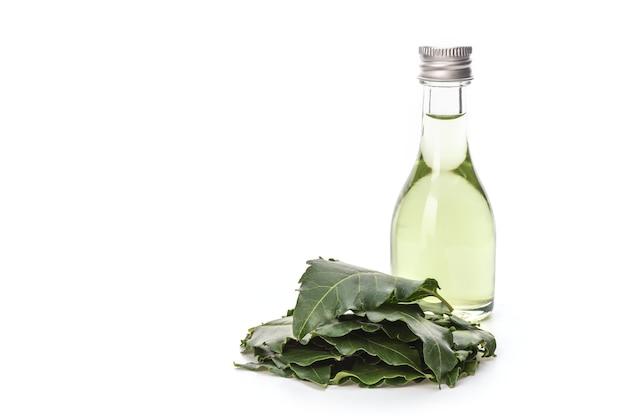 Neem o azadirachta indica, foglie verdi e olio dalle foglie estratte isolate.