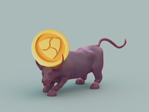Nem bull acquista la crescita degli investimenti di mercato crypto currrency 3d illustration render