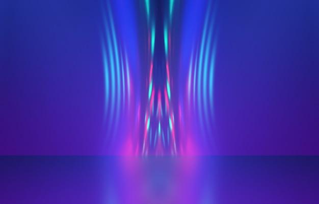 Raggi di luce astratti al neon su uno sfondo scuro riflessione superficiale dello spettacolo laser a effetto luce