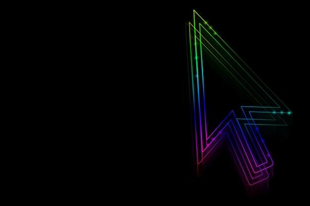 Freccia al neon su uno sfondo nero per il design