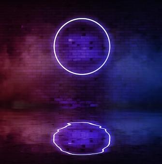Cerchio blu al neon sullo sfondo di un vecchio muro di mattoni con riflesso di fumo e acqua. banner pubblicitario luminoso con copia spazio.
