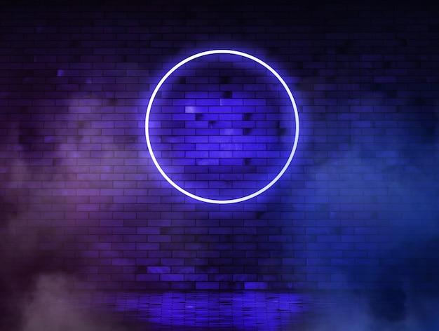 Cerchio blu al neon sullo sfondo di un vecchio muro di mattoni con fumo.