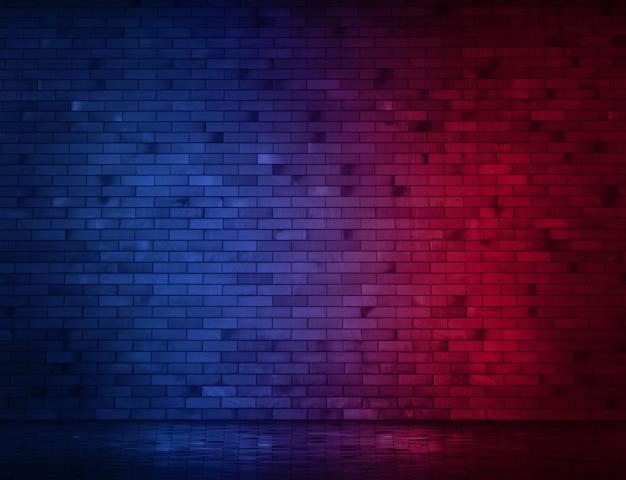 Muro di mattoni al neon e marciapiede bagnati. copia spazio banner.