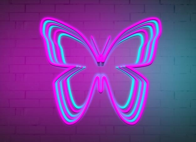 Farfalla al neon sullo sfondo di un muro di mattoni.