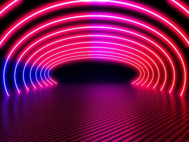 Sfondo di neon e fibra di carbonio