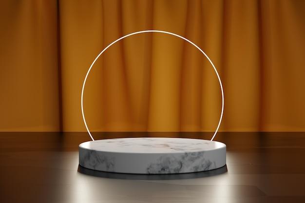 Cerchio al neon e podio 3d in marmo per la presentazione del prodotto con tenda in tessuto arancione