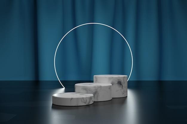 Cerchio al neon e podio in marmo per la presentazione del prodotto con tenda in tessuto blu su sfondo