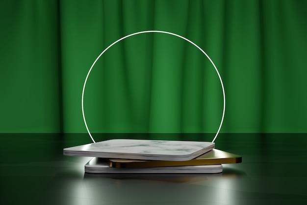 Cerchio al neon e podi quadrati in oro e marmo per la presentazione del prodotto con tenda in tessuto verde