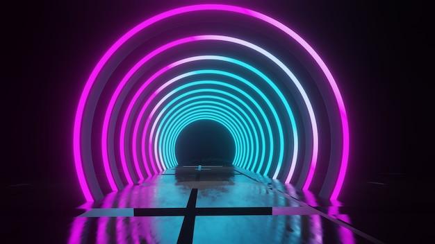Cerchio al neon tunnel corridoio calcestruzzo riflettente grunge corridoio scuro vuoto futuristico bello attraente moderno 3d illustration
