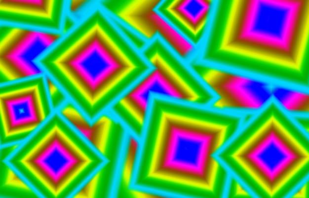 Colori al neon geometrici caotici 3d con motivo a cornici quadrate per sfondo astratto